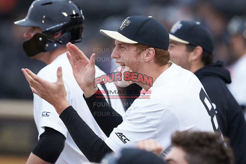 Wake Forest Demon Deacons pitcher Colin Peluse (8) cheers for his teammates during the game against the Sacred Heart Pioneers at David F. Couch Ballpark on February 15, 2019 in  Winston-Salem, North Carolina.  The Demon Deacons defeated the Pioneers 14-1.  (Brian Westerholt/Four Seam Images)