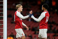 Arsenal's Matthew Smith celebrates scoring Arsenal's fifth goal with Trae Coyle (No 14) during Arsenal Youth vs Blackpool Youth, FA Youth Cup Football at the Emirates Stadium on 16th April 2018