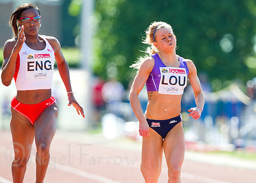 23 MAY 2010 - LOUGHBOROUGH, GBR - Hayley Jones (Loughborough University) (right) battles with Joice Maduaka (England) in the Womens 200m race at the Loughborough International Athletics (PHOTO (C) NIGEL FARROW)
