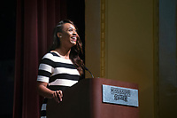 Orientation 2018: General Assembly for incoming students and their parents in Lee Hall's Bettersworth Auditorium.  Student Association President Mayah Emerson speaks.<br />  (photo by Megan Bean / &copy; Mississippi State University)