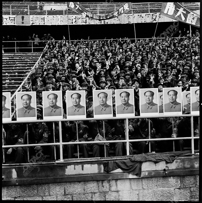 "National conferences such as this one on ""Learning and Applying Mao Zedong Thought,"" held in Beijing Worker's Stadium, were a common way of spreading Maoist thought. Beijing, 21 October 1966"