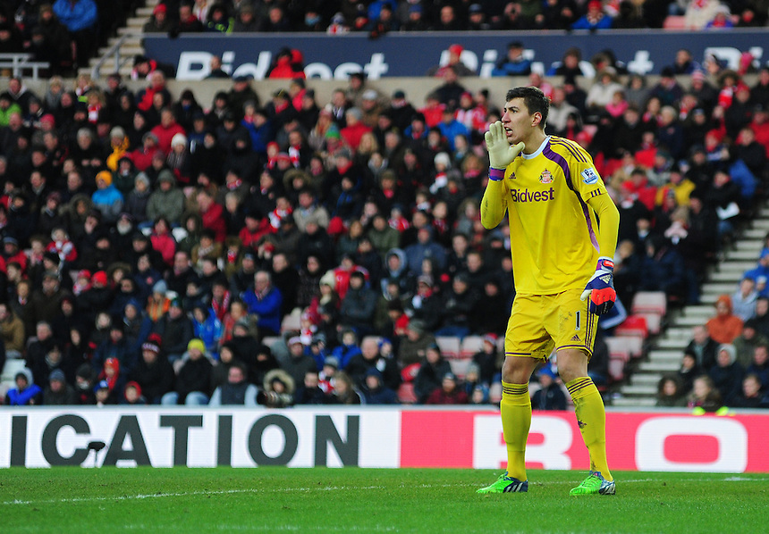 Sunderland's Costel Pantilimon<br /> <br /> Photographer Chris Vaughan/CameraSport<br /> <br /> Football - Barclays Premiership - Sunderland v Burnley - Saturday 31st January 2015 - Stadium of Light - Sunderland<br /> <br /> &copy; CameraSport - 43 Linden Ave. Countesthorpe. Leicester. England. LE8 5PG - Tel: +44 (0) 116 277 4147 - admin@camerasport.com - www.camerasport.com