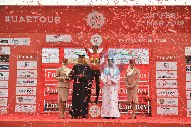Race leader Primoz Roglic (SLO) Team Jumbo-Visma wins Stage 6 and retains the Red Jersey of the 2019 UAE Tour, running 175km form Ajman to Jebel Jais, Dubai, United Arab Emirates. 1st March 2019.<br /> Picture: LaPresse/Massimo Paolone | Cyclefile<br /> <br /> <br /> All photos usage must carry mandatory copyright credit (© Cyclefile | LaPresse/Massimo Paolone)