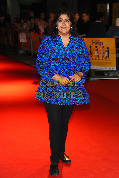 Gurinder Chadha.The UK premiere of 'The Help', Curzon, Mayfair, London, England..October 5th, 2011.full length black trousers blue top print .CAP/CJ.©Chris Joseph/Capital Pictures.