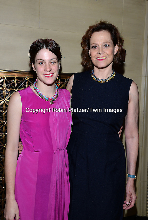 Sigourney Weaver and daughter Charlotte attend the Library of American Broadcasting Annual Giants of Broadcasting Luncheon on October 16, 2014 at Gotham Hall in New York City. <br /> <br /> photo by Robin Platzer/Twin Images<br />  <br /> phone number 212-935-0770