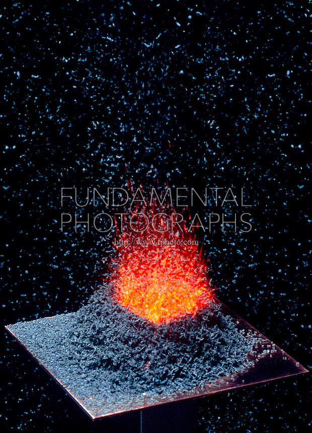 AMMONIUM DICHROMATE OXIDATION -VOLCANO EFFECT (3 of 4)<br /> An Exothermic Reaction<br /> ½oz by volume of ammonium dichromate(VI), (NH4)Cr2O7 crystals are ignited resulting in an exothermic reaction with end products of solid chromium (III) oxide, nitrogen gas & water vapor.