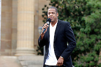 Jay-Z at the press conference to announce he will curate and headline Budweiser Made In America, a two day music festival in Philadelphia this Labor Day weekend to benefit United Way at the top of the Art Museum steps in Philadelphia, Pa on May 14, 2012 © Star Shooter / MediaPunch Inc.