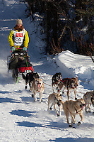 Musher Trent Herbst on Long Lake at the Re-Start of the 2011 Iditarod Sled Dog Race in Willow, Alaska.