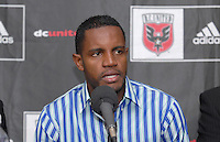 DC United's new acquisition, Brazilian forward Luciano Emilio, addresses the press in which he was named the new Senior International player for DC United, January 16, 2007.