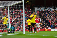 Watford's Troy Deeney reacts to a missed chance <br /> <br /> Photographer Craig Mercer/CameraSport<br /> <br /> The Premier League - Sunday 11th March 2018 - Arsenal v Watford - The Emirates - London<br /> <br /> World Copyright &copy; 2018 CameraSport. All rights reserved. 43 Linden Ave. Countesthorpe. Leicester. England. LE8 5PG - Tel: +44 (0) 116 277 4147 - admin@camerasport.com - www.camerasport.com