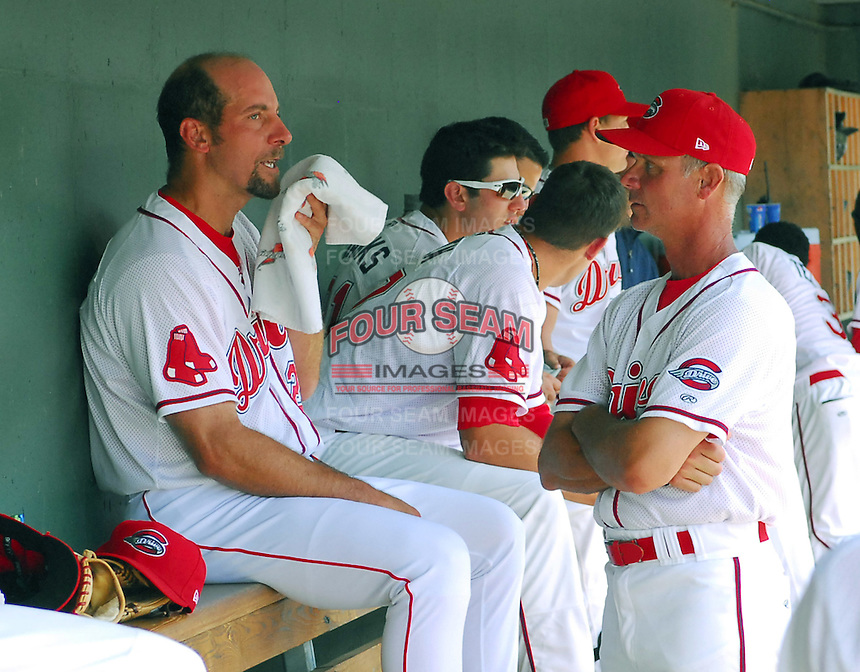 May 31, 2009: John Smoltz (29) of the Boston Red Sox pitched a rehab assignment for the Greenville Drive, Class A affiliate of the Boston Red Sox, in a game against the Charleston RiverDogs at Fluor Field at the West End in Greenville, S.C. Smoltz talks with Drive pitching coach Bob Kipper. Photo by: Tom Priddy/Four Seam Images