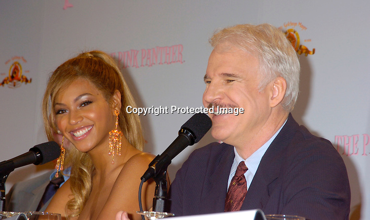 Beyonce and Steve Martin ..at the Pink Panther start of Production Press Conference on May 7, 2004 at the Waldorf Astoria Hotel.                    Photo by Robin Platzer, Twin Images