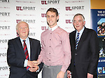 27/10/2015   With Compliments.  Attending the GAA High Performance Scholarships 2015-2016 in the Castletroy Park Hotel were Robert Frost, GAA, Munster Council Chairman who presented the Munster GAA Bursary to recipient Tommy Heffernan, Eire Og, Nenagh.  Also in the photograph is UL President Professor Don Barry.  Photograph: Liam Burke/Press 22