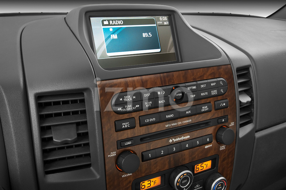 Stereo audio system close up detail view of a 2008 Nissan Titan