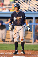 July 23 2008:  Third baseman Bryan Pounds of the Oneonta Tigers, Class-A affiliate of the Detroit Tigers, during a game at Dwyer Stadium in Batavia, NY.  Photo by:  Mike Janes/Four Seam Images