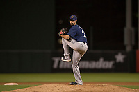 Milwaukee Brewers relief pitcher Jorge Lopez (28) during a Minor League Spring Training game against the Los Angeles Angels at Tempe Diablo Stadium on March 29, 2018 in Tempe, Arizona. (Zachary Lucy/Four Seam Images)