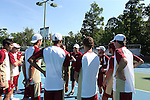 08 May 2015: Denver head coach Danny Westerman talks to his team. The University of Denver Pioneers played the Mississippi State University Bulldogs at Cone-Kenfield Tennis Center in Chapel Hill, North Carolina in a 2015 NCAA Division I Men's Tennis Tournament First Round match. MSU won the match 4-3.