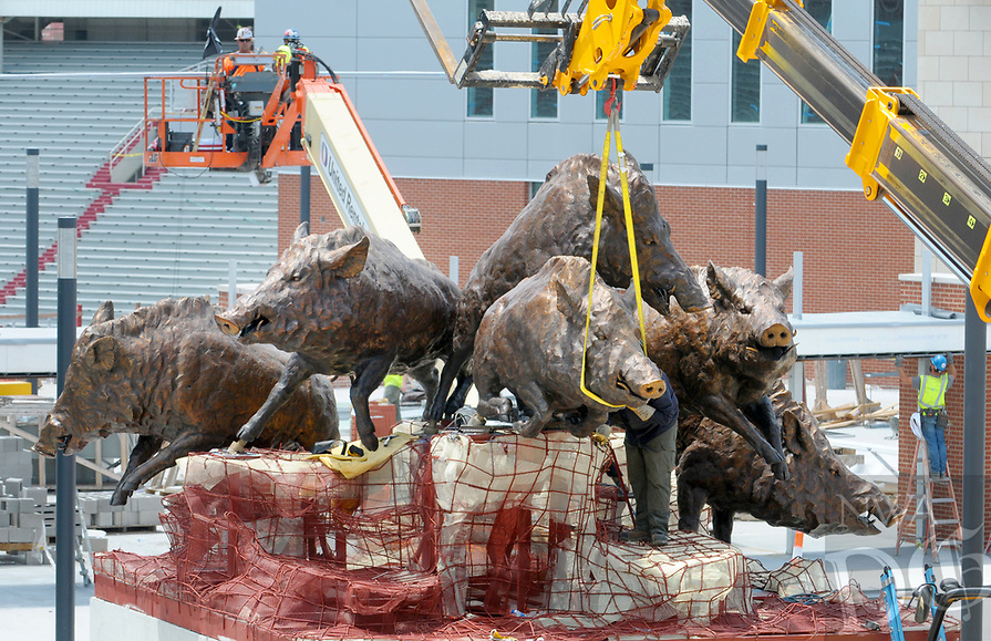 NWA Democrat-Gazette/DAVID GOTTSCHALK Work continues Monday, August 6, 2018, on the installation of the Wild Band of Razorbacks monument on the northeast corner of Donald W. Reynolds Razorback Stadium in Fayetteville. The bronze monument consists of six Razorbacks in tribute to the University's 1964 national championship. The full monument will be approximately 20 feet high and 30 feet wide, with bronze Razorback hogs six feet tall and 12 to 14 feet long.