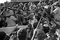 Pix:Michael Steele/SWpix...American Football. Denver Broncos, Super Bowl, San Diego, 1988...COPYRIGHT PICTURE>>SIMON WILKINSON..John Elway meets the media, Denver Broncos, Super Bowl, San Diego.
