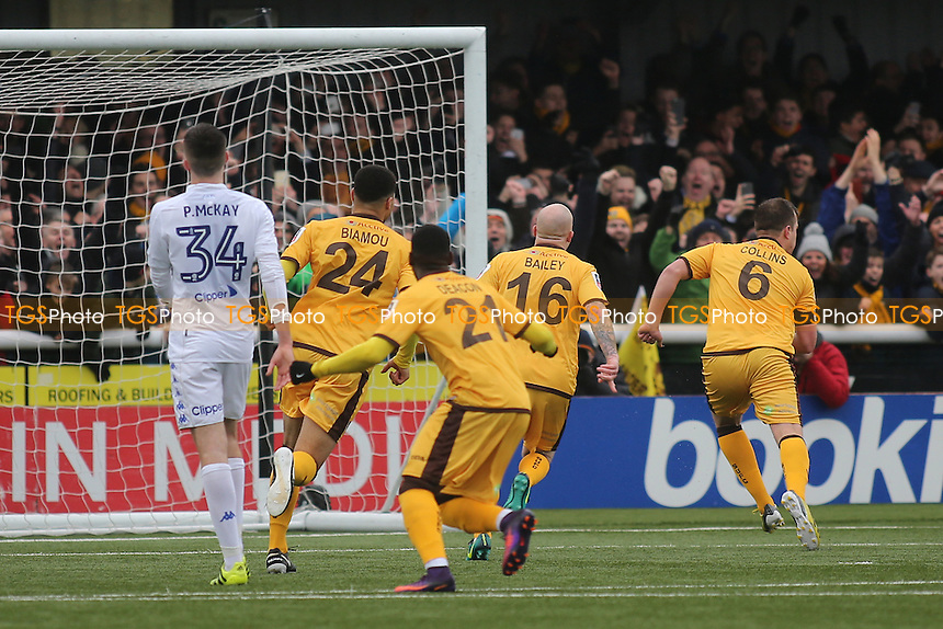 Jamie Collins (No 6) scores and runs towards the Sutton fans to celebrate during Sutton United  vs Leeds United, Emirates FA Cup Football at the Borough Sports Ground on 29th January 2017