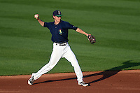Cedar Rapids Kernels shortstop Ryan Walker (26) throws to first during a game against the Quad Cities River Bandits on August 18, 2014 at Perfect Game Field at Veterans Memorial Stadium in Cedar Rapids, Iowa.  Cedar Rapids defeated Quad Cities 4-2.  (Mike Janes/Four Seam Images)