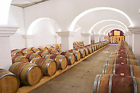The barrel aging cellar. Herdade da Malhadinha Nova, Alentejo, Portugal