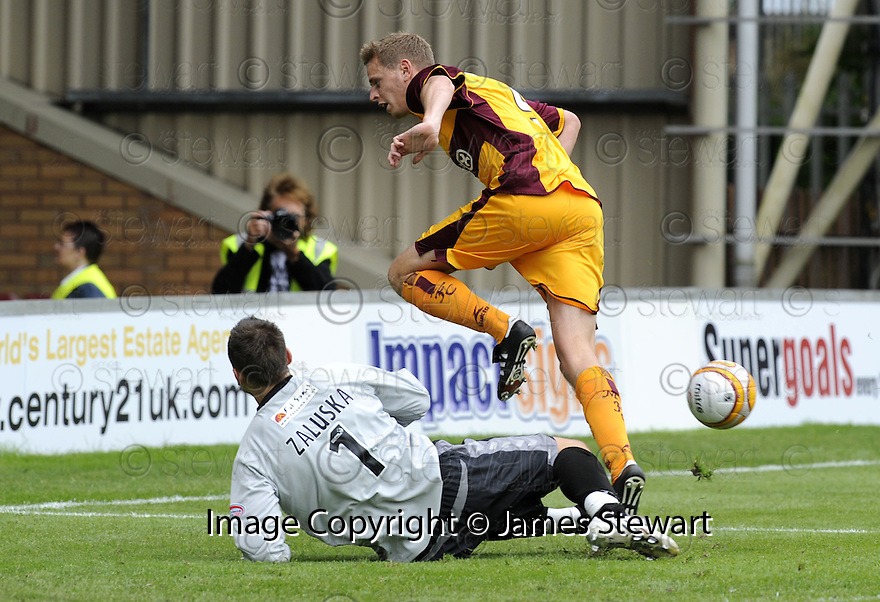 23/08/2008  Copyright Pic: James Stewart.File Name : sct_jspa19_motherwell_v_dundee_utd.LUKASZ ZALUSKA SAVES AT THE FEET OF CHRIS PORTER.James Stewart Photo Agency 19 Carronlea Drive, Falkirk. FK2 8DN      Vat Reg No. 607 6932 25.James Stewart Photo Agency 19 Carronlea Drive, Falkirk. FK2 8DN      Vat Reg No. 607 6932 25.Studio      : +44 (0)1324 611191 .Mobile      : +44 (0)7721 416997.E-mail  :  jim@jspa.co.uk.If you require further information then contact Jim Stewart on any of the numbers above........