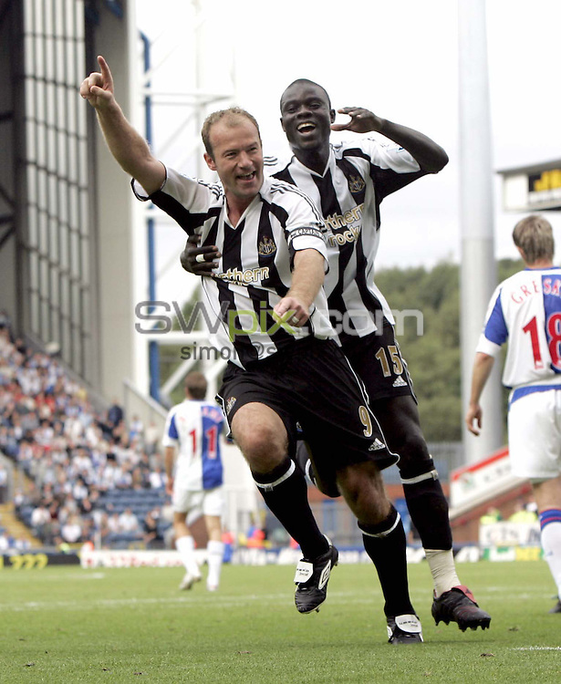Pix by BEN DUFFY/SWpix.com - Barclays Premiership football - Blackburn Rovers v Newcastle........18/09/05..Picture Copyright >> Simon Wilkinson >> 07811267706..Newcastle's Alan Shearer celebrates scoring