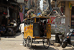School transport in the Paharganj district of New Delhi, India.
