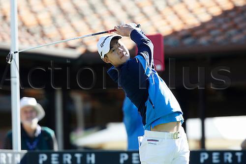 25.02.2016. Perth, Australia. ISPS HANDA Perth International Golf. Jazz Janewattananond (THA) hits his first shot for the tournament on tee 1 day 1.