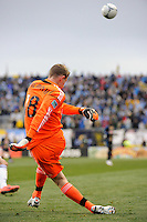 Philadelphia Union goalkeeper Zac MacMath (18) sends a ball up field. The Philadelphia Union and the Vancouver Whitecaps played to a 0-0 tie during a Major League Soccer (MLS) match at PPL Park in Chester, PA, on March 31, 2012.
