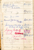 BNPS.co.uk (01202 558833)<br /> Pic: Juliens/BNPS<br /> <br /> Studio boss Sam Goldwyn is listed.<br /> <br /> Film icon Marilyn Monroe's personal address book which reveals who she was close to at the height of her career has emerged for sale for £23,000. ($30,000)<br /> <br /> The navy blue leather book contains a host of famous names including crooner Frank Sinatra and the 'Of Mice And Men' author John Steinbeck.<br /> <br /> Others listed were fellow actresses Eva Marie Saint and Shelley Winters, as well as acclaimed filmmakers John Huston and Billy Wilder.<br /> <br /> Also a phonecall away were the cosmetic empire founder Elizabeth Arden, the designer Jean Louis who was responsible for her 'Happy Birthday Mr President' dress, as well as the gossip columnist Hedda Hopper, writer Saul Bellow and photographer Richard Avedon.<br /> <br /> The 1958 address book, which contains Monroe's notations, was kept by her longtime New York secretary May Reis. It has since passed into the hands of a private collector who is selling it with Los Angeles based Julien's Auctions.