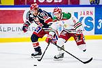 S&ouml;dert&auml;lje 2013-12-12 Ishockey Hockeyallsvenskan S&ouml;dert&auml;lje SK - Mora IK :  <br /> S&ouml;dert&auml;lje 54 Dan Iliakis har tappat pucken vid bl&aring;linjen i tredje perioden och Mora 9 Mikael Zettergren startar kontring<br /> (Foto: Kenta J&ouml;nsson) Nyckelord: