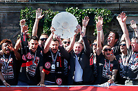 Duesseldorf, Germany, 2. Bundesliga, promotion to 1. Bundesliga of  Fortuna Duesseldorf, team celebrates at Rathausmarkt of Duesseldorf, 14.05.2018<br /> Oliver FINK (F95) -middle left - and Gerd ZEWE ( F 95)   *** Local Caption *** © pixathlon<br /> Contact: +49-40-22 63 02 60 , info@pixathlon.de