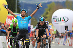 April 17th 2017, Innsbruck, Austria; UCI Tour of the Alps mens cycling tour, Kufstein - Innsbruck, stage 1; pictured: Left, Davide Formolo (Cannondale-Drapac), Michele Scarponi, Geraint Thomas (Team Sky)<br /> &copy; Pierre Teyssot