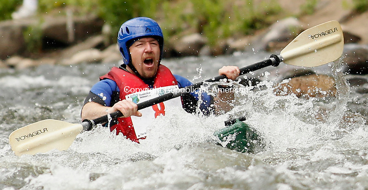 Beacon Falls, CT-08, May 2010-050810CM06  Rich Whitney of Plymouth steers his way through some minor rapids in the Naugatuck River near downtown Beacon Falls Saturday afternoon at the third annual Naugatuck Valley River Race.    --Christopher Massa Republican-American