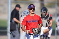Sammy Leyba (46), from Odessa, Texas, while playing for the Red Sox during the Under Armour Baseball Factory Recruiting Classic at Red Mountain Baseball Complex on December 28, 2017 in Mesa, Arizona. (Zachary Lucy/Four Seam Images)