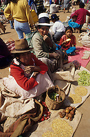Amérique/Amérique du Sud/Pérou/Urubamba : Portraits sur le marché marchandes de graines, pois, piments