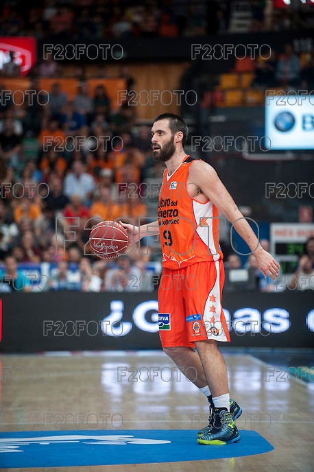 VALENCIA, SPAIN - OCTOBER 18: San Emeterio during ENDESA LEAGUE match between Valencia Basket Club and FIATC Joventut at Fonteta Stadium on October 18, 2015 in Valencia, Spain