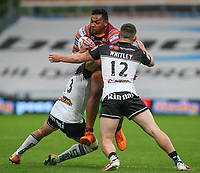 Huddersfield Giants's Ukuma Ta&rsquo;ai is tackled by Widnes Vikings's Matt Whitley and Hep Cahill<br /> <br /> Photographer Alex Dodd/CameraSport<br /> <br /> Betfred Super League Round 21  - Huddersfield Giants v Widnes Vikings - Friday 7th July 2017 - John Smith's Stadium - Huddersfield<br /> <br /> World Copyright &copy; 2017 CameraSport. All rights reserved. 43 Linden Ave. Countesthorpe. Leicester. England. LE8 5PG - Tel: +44 (0) 116 277 4147 - admin@camerasport.com - www.camerasport.com