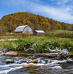 A Pastoral Landscape, Barn And River Below A Hill In Autumn, Central Ohio, USA
