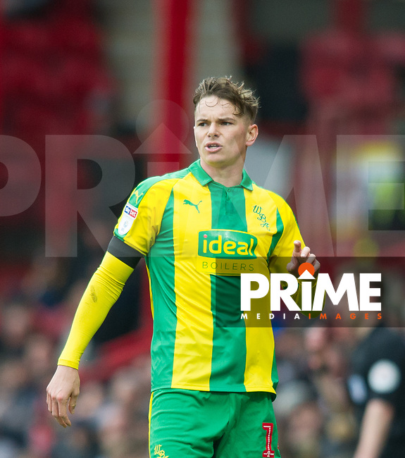 WBA's Conor Townsend during the Sky Bet Championship match between Brentford and West Bromwich Albion at Griffin Park, London, England on 16 March 2019. Photo by Andrew Aleksiejczuk / PRiME Media Images.