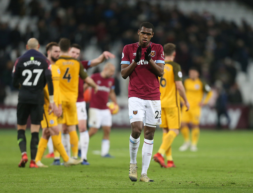 West Ham United's Issa Diop applauds the fans at the end of the game<br /> <br /> Photographer Rob Newell/CameraSport<br /> <br /> The Premier League - West Ham United v Brighton and Hove Albion - Wednesday 2nd January 2019 - London Stadium - London<br /> <br /> World Copyright © 2019 CameraSport. All rights reserved. 43 Linden Ave. Countesthorpe. Leicester. England. LE8 5PG - Tel: +44 (0) 116 277 4147 - admin@camerasport.com - www.camerasport.com