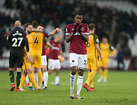 West Ham United's Issa Diop applauds the fans at the end of the game<br /> <br /> Photographer Rob Newell/CameraSport<br /> <br /> The Premier League - West Ham United v Brighton and Hove Albion - Wednesday 2nd January 2019 - London Stadium - London<br /> <br /> World Copyright &copy; 2019 CameraSport. All rights reserved. 43 Linden Ave. Countesthorpe. Leicester. England. LE8 5PG - Tel: +44 (0) 116 277 4147 - admin@camerasport.com - www.camerasport.com