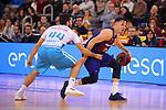 League ACB-ENDESA 2018/2019. Game: 14.<br /> FC Barcelona Lassa vs Monbus Obradoiro: 79-73.<br /> Pepe Pozas vs Thomas Heurtel.