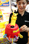 "September 8, 2016, Tokyo, Japan - Japanese toy maker Tomy employee displays the new toy ""Pop-up Pikachu"", Pokemon's famous character Pikachu jumps from a barrel when a stick inserts into a lucky slot at a two day toy exhibition in Tokyo on Thursday, September 8, 2016. Tomy will put it on the market next month.    (Photo by Yoshio Tsunoda/AFLO)"