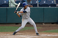 August 7, 2007: Helder Velazquez of the Tri-City Dust Devils taking a swing against the Everett AquaSox in a Northwest League game at Everett Memorial Stadium in Everett, Washington.