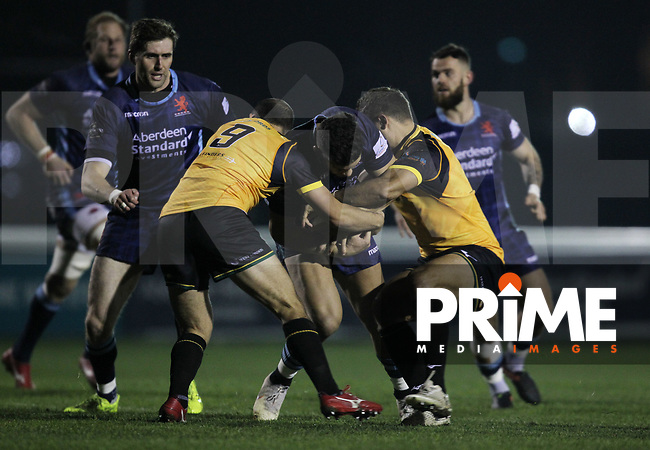 Match action during the Championship Cup match between London Scottish Football Club and Ealing Trailfinders at Richmond Athletic Ground, Richmond, United Kingdom on 23 November 2018. Photo by Harry Hubbard/PRiME Media Images
