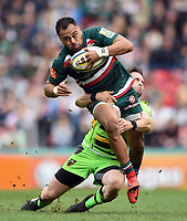 Telusa Veainu of Leicester Tigers is tacked by Cobus Reinach of Northampton Saints. Aviva Premiership match, between Leicester Tigers and Northampton Saints on April 14, 2018 at Welford Road in Leicester, England. Photo by: Patrick Khachfe / JMP