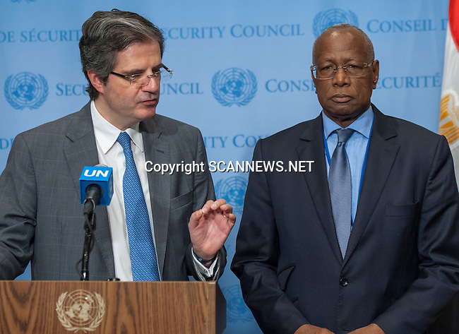 Abdoulaye Bathily, Special Representative of the Secretary-General and Head of the UN Regional Office for Central Africa (UNOCA), speaks to journalists following his closed-door briefing to the Security Council.